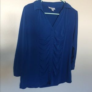 Women's Blue Ruched Button Down